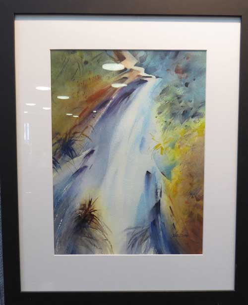 Commendable prize awarded to Sue Currie for her watercolour - Waterfall