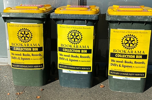 2021 Bookarama Collection bins ready to receive donations
