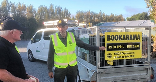 Rotarians distributing collection bins to 17 sites in Christchurch