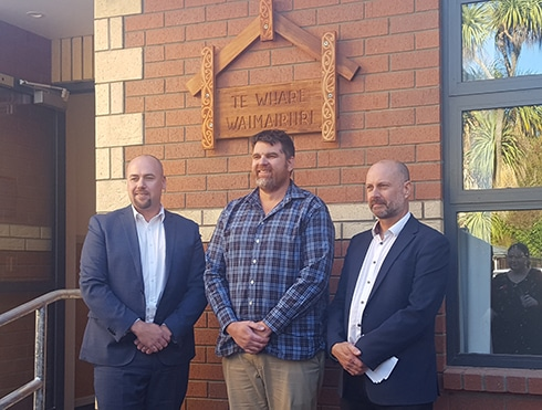 and Nigel Loughton (Clinical Director) with the NZ Deputy Director of Corrections (left) and the Principal of the Builder (centre).